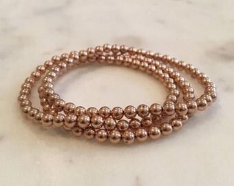 Three 14K gold (4mm) stackable beaded bracelets - offered in 14K gold filled, rose gold filled, or sterling silver
