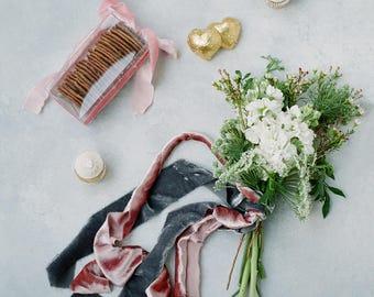 Silk Velvet Ribbon | Silk Velvet Ribbons | Silk Velvet | Velvet Ribbon |  Silk Ribbon | Wedding Ribbon | Hand Dyed Ribbon | Gray Ribbon
