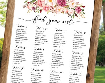 PRINTABLE Wedding Seating Chart Template, Boho Wedding Seating Chart, Flower Seating Chart, Weddings Seating Chart, Instant Download. ASC016