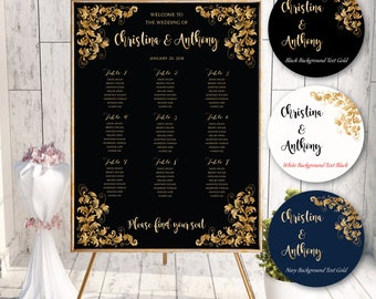 PRINTABLE Wedding Seating Chart, Wedding Seating Chart, Wedding seating template, Navy seating chart, Seating chart, Find Your Seat #B-135