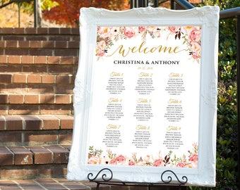 Wedding seating chart template, Wedding seating chart poster, Wedding Seating Chart, Navy seating chart, Seating chart, Chart Poster, SC169