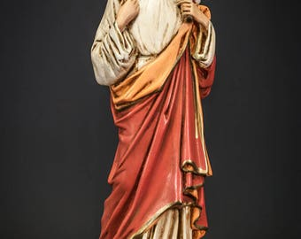 "17"" RARE Jesus with Lamb of God Polychromed Plaster Statue Christ Figure"