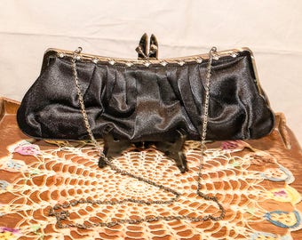 Vintage Black Satin Evening Bag, Oblong, Shoulder Chain