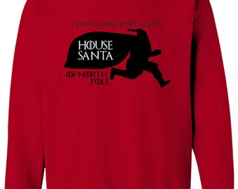 Game of Thrones House Santa Christmas is Coming Long Sleeve Men's Sweatshirt Tee