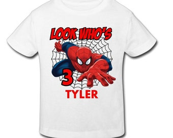 Spiderman birthday shirt etsy for Custom shirts fast delivery