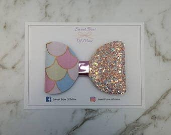 MERMAID SCALES BOW Hair Clip | Large Bow | Hair Bow, Hair Clip, Glitter Bow