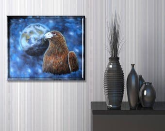 Fantasy painting acrylic painting mural - Eagle and planet Earth