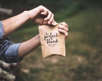 Unique Wedding Favors for Guests-Custom Packaged Coffee Beans-Coffee Wedding Favors-The Perfect Blend-Rustic Wedding Favors- Wedding Ideas