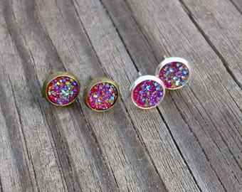 8mm Red Color Shifting Faux Druzy Earrings (choice of bronze or silver) / Druzy Posts / Druzy Studs / Earring Posts / Earring Studs / Gems