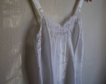White Cotton Slip with Lace Trim