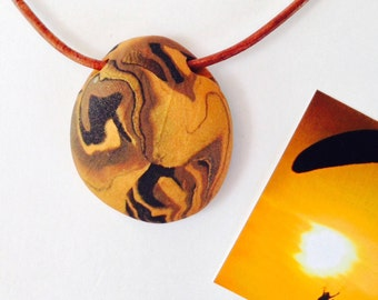 AIR 6 Nature Elements Necklace Unique Handmade Artistic Pendant Stone Adjustable Leather Cord Perfect Gift for Her