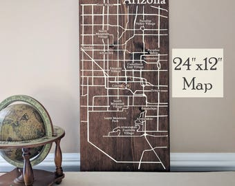 Phoenix Map Wall Art, Phoenix Map, Large Wooden Map, Phoenix Map Art, Wooden Street Map, Custom Painted Map, House Address Map by Novel Maps