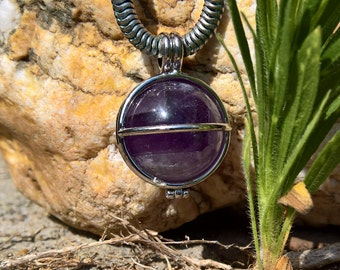 "Open Silver Ball Cage with 20mm Natural Stunning Gemstone Amethist and 32"" 4mm Silverplated Necklace"