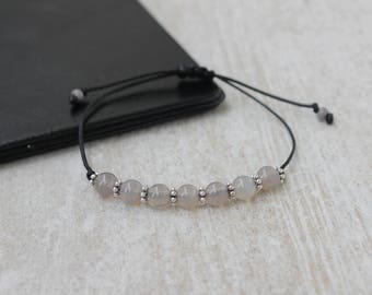 Gray Agate Bracelet Minimalist Bracelet Tiny Bead Bracelet Friendship Bracelet Beaded Bracelet for Women Gemstone Bracelet
