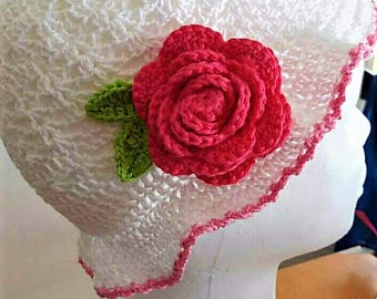 Chrocheted Summer Wedding Hat With Rose