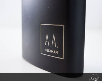 3 Groomsman Gift, Personalised Flasks, Groomsmen Hip Flask, Engraved Flask, Engraved Flask, Custom Engraving, Black Hip Flask, Gift for Men