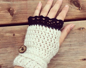 Crochet wool cream fingerless gloves with black lace