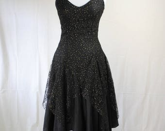 1980s Witchy Party Dress // 1980s Dress // Vintage Handkerchief Hem Dress // Witchy Formal Dress // Gothic Dress  // Little Black Dress
