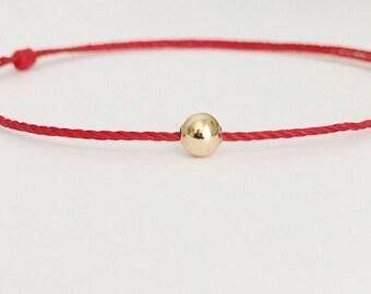 Mens Gold Red String Bracelet Trendy Bracelet 14K gold bead bracelet Red Cord bracelet Gold filled Gift for Him Mens Hipster Bracelet