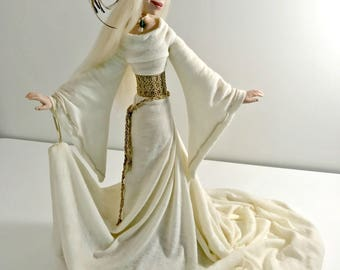 GENEVIEVE ~ Ooak Art Doll ~ Serene Medieval Maiden Qwirk Circus Polymer Clay