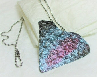 unique necklace, recycled, handmade, stainless steel chain