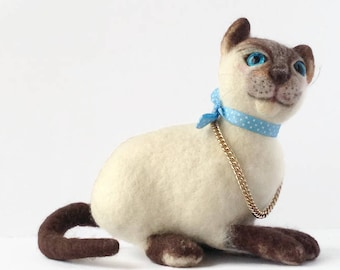 Toy soft cat Sitting White cat Wool felt cat Needle felt animal Blue eyes Crazy cat lady gift Cat sculpture Living room abstract