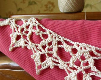 Ribbon Lace, Edging-hand crocheted, custom colour, length - to order