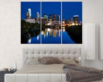 Extra Large wall art prints framed, Ben Franklin bridge wall art, office decor gift, 3 pieces Philadelphia skyline art print, s379