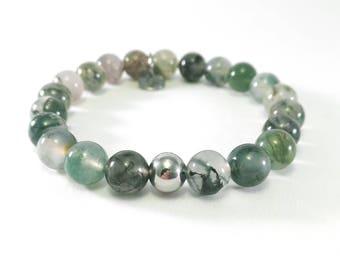 Moss Agate Bracelet. Green Bracelet. Stretch Agate Bracelet. Gemstone Bracelet. Healing Bracelet. Beaded Boho Bracelet. Gift for Her. Agate.