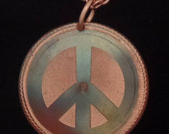 "1"" Brocaded PEACE SIGN Pendant Engine Turned in Patinated Copper"
