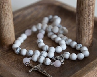 Howlite & Rose Quartz Catholic Rosary