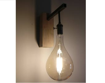 Applique wall industrial oak and steel edison bulb