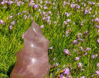 Large Rose Quartz Flame, Self Standing Tower, Swirl Crystal Display Piece