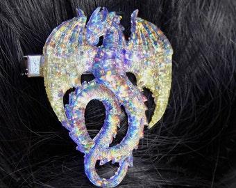 Magic Purple and Gold Resin Glitter Dragon Hairclip