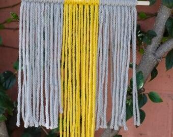 Yellow and Grey Macrame Yarn Wall Hanging   Boho Wall Art   Wall Hanging Tapestry