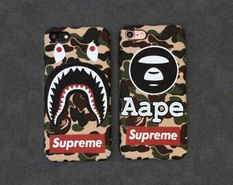 Bape A Bathing Ape Camo Camouflage Supreme Army Shark Mouth Hard plastic Design Cover For Iphone 6/6plus/6s/6s Plus/7/7 Plus Coque fundas