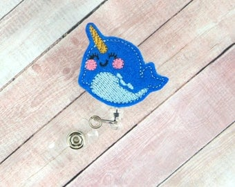 Narwhal Badge Reel- Nurse Gift - Narwhal Lover - Retractable ID Badge Holder - Badge Pull