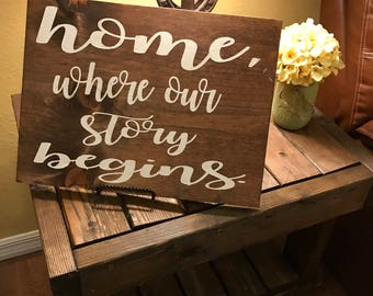 home where our story begins, rustic decor, farmhouse sign, wood sign
