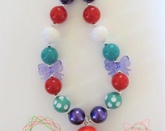 Princess Ariel Chunky Bubblegum Necklace, Chunky Bead Necklace, Girls Jewelry, Little Girl Chunky Necklace, Bubblegum Necklace