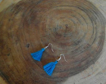Blue tassels earrings!!