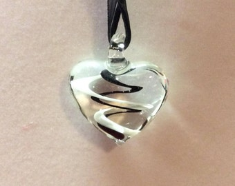 Glass heart pendant / Black ribbon necklace