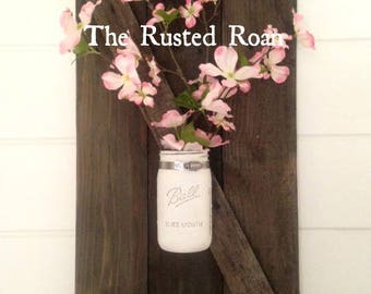 Mason Jar Wall Decor, Farmhouse Decor, Mason Jar Sconce, Barn Door Wall Decor, Mason Jar Wall Sconce, Rustic Wall Decor, Mason Jar Decor