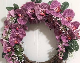 Grapevine Wreath Purple Moth Orchid, Purple Moth Orchid Grapevine Wreath,Orchid Wreath
