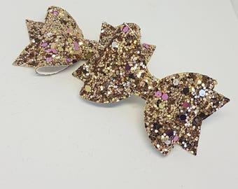 Gold glitter bows/ gold bow/ girls bow/ glitter bow/ gold and purple glitter bow/ girls hair bow/ glitter bow/ baby headband/ newborn bow