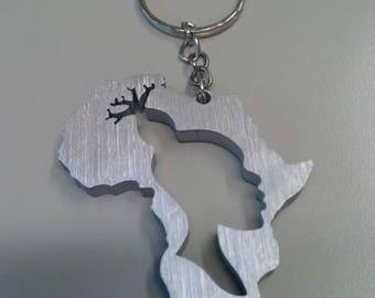 Africa, volto di donna africana, continente africano, portachiavi Rasta in alluminio
