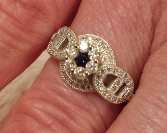 Vintage Gatsby Blue Sapphire & White Topaz Gemstone Art Deco Sterling Silver Ring, .75 ct.  Size - 7