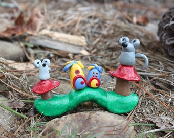 Polymer Clay Fairy House with Mice, Polymer Clay Fairy House, Polymer Clay Mice, Polymer Clay Mouse, Fairy Garden, Fairy, Fairy House