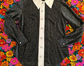 Vintage Black And White Silver Metallic Glitter Pointy Collar Daisy Button Long Sleeve Disco Shirt