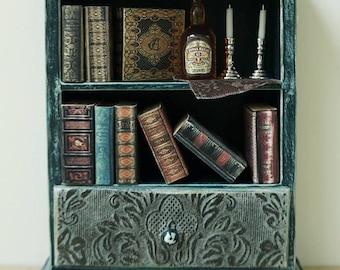 Dollhouse miniature handpainted furniture bookshelf miniaturebooks vintage white wood livingroom
