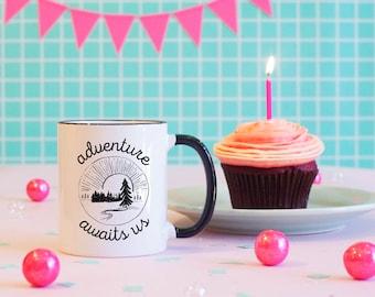 Adventure Awaits Black Rim Mug, Camping Coffee Mug, Hiker Mug, Adventure Mug, Nature Mug